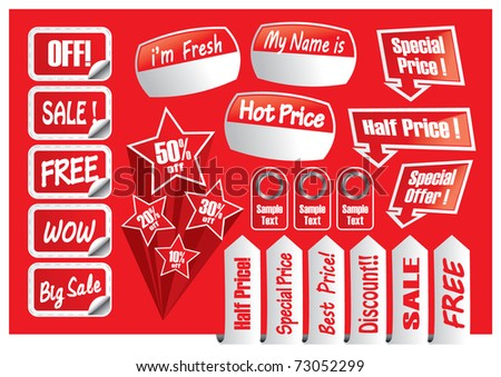 Red Text Box label and tags for sale