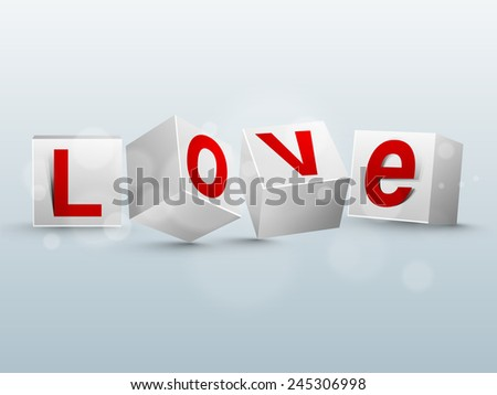 red text love on glossy 3d
