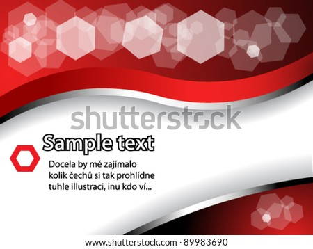 Red text pattern with transparent hexagons