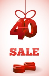 red text SALE with 40 percent