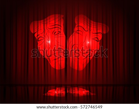 Red Theater Curtain with Theater Masks. Vector Illustration.