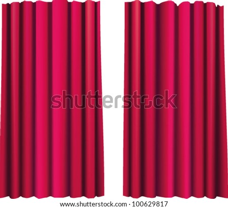 Red theatrical curtain. Isolated. Vector