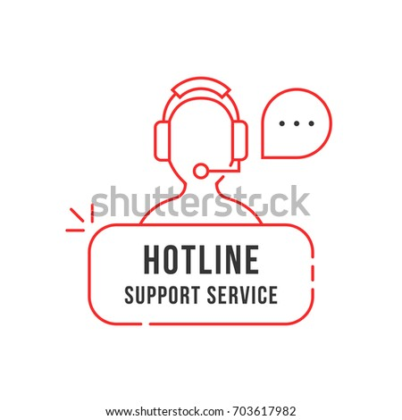 red thin line hotline support service logo. simple linear flat style trend crm logotype graphic banner design isolated on white background. 24/7 help contact for client by adviser or counselor concept