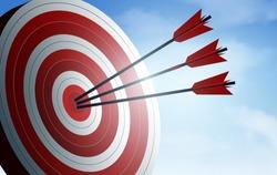 red three arrows darts in target. business success goal. creative idea. illustration vector