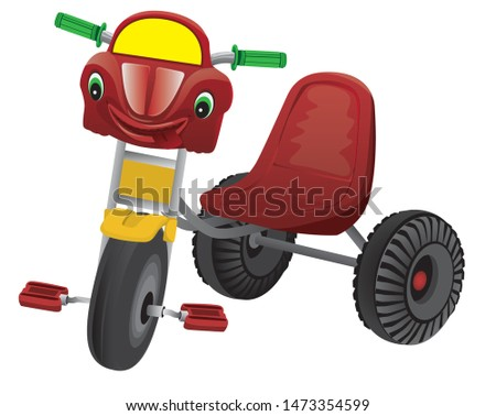 red three wheel car for baby vector design