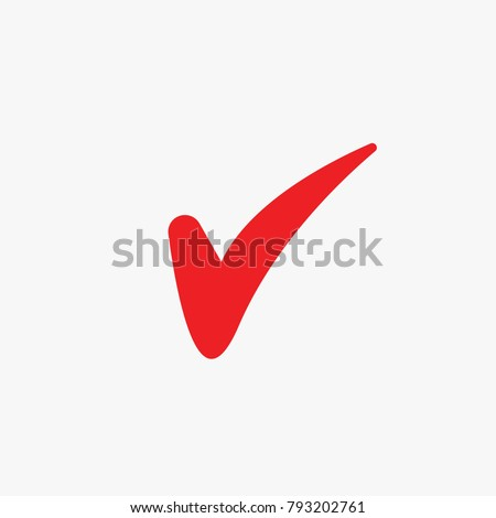 Red tick Mark for correct approved for your websites school and projects vector icon