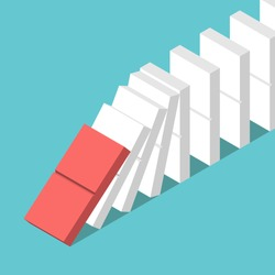 Red tile starting domino effect and many white ones on turquoise blue background. Crisis, leadership and motivation concept. Flat design. No transparency, no gradients