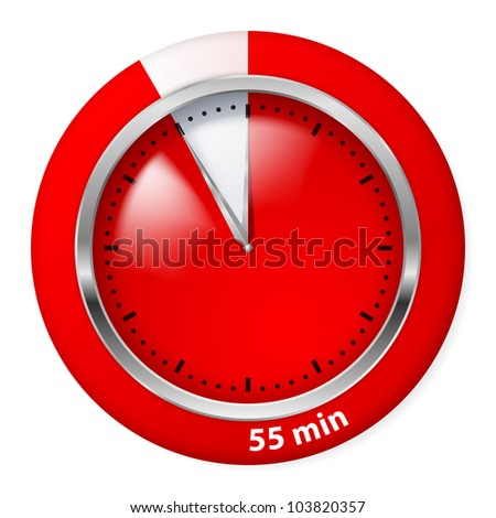 Red Timer Icon. Fifty-five Minutes. Illustration on white.