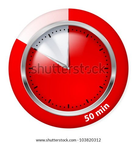 Red Timer Icon. Fifty Minutes. Illustration on white.