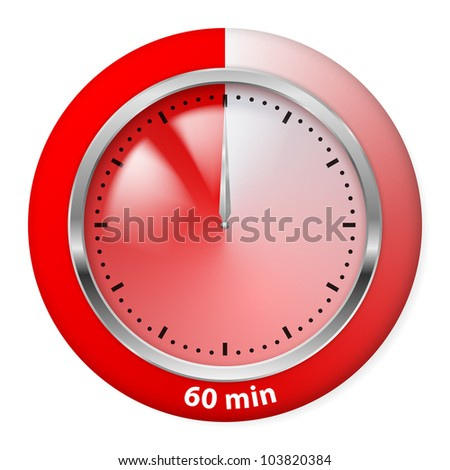 Red Timer Icon. Sixty Minutes. Illustration on white.