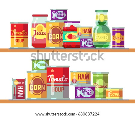 Red tomato soup and canned food vector illustration. Tomato tinned container product in shelf retail