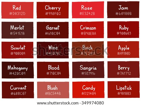 Red Tone Color Shade Background With Code And Name Illustration 349974080 Shutterstock