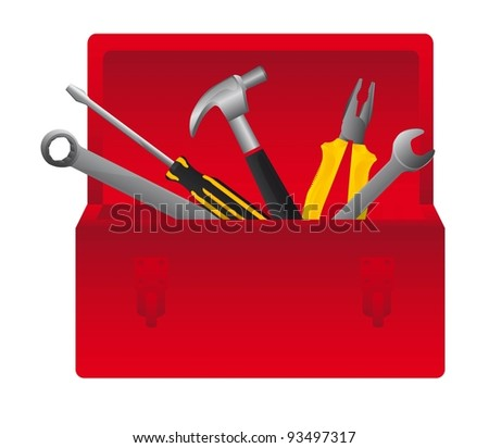 Red tool box on white background, vector illustration