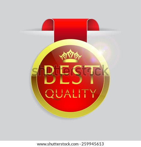 Red top Best Quality with gold border and ribbon on white background