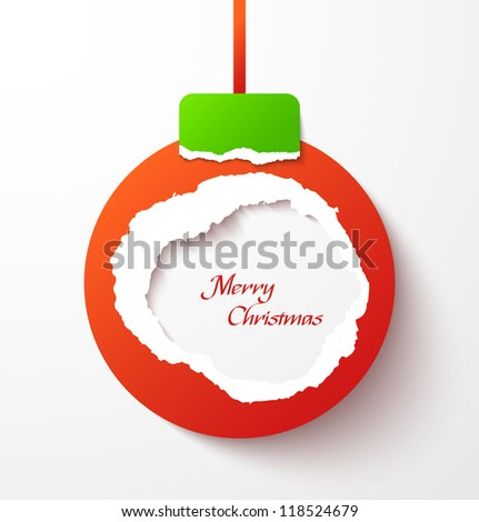 Red torn paper christmas ball. Vector illustration