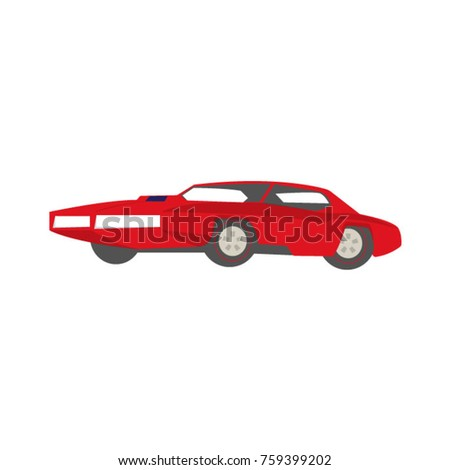 red toy sports retro car flat