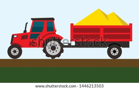 red tractor and trailer, grain harvested, vector illustration
