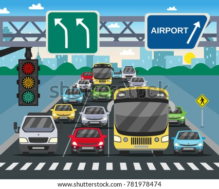 Red traffic light signal on busy street flat image with vehicles standing at zebra crossing vector illustration