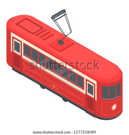 Red tram car icon. Isometric of red tram car vector icon for web design isolated on white background