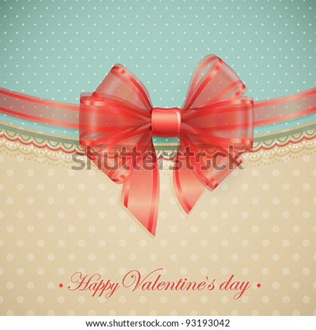 Red transparent bow on vintage background. Vector illustration. - stock vector