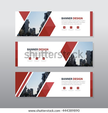 Red triangle abstract corporate business banner template, horizontal advertising business banner layout template flat design set , clean abstract cover header background for website design #444389890