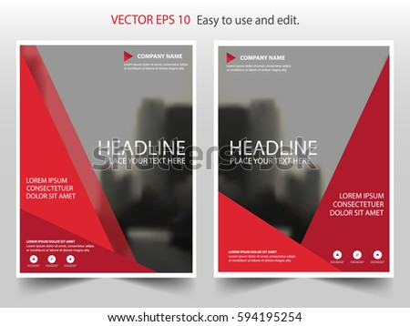 red triangle annual report leaflet brochure flyer template design