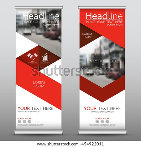 Red triangle roll up business banner design vertical template vector, cover presentation abstract geometric background, modern publication display and flag-banner, layout in rectangle size.