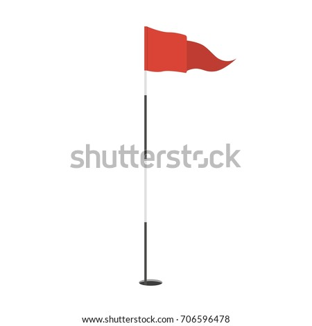 Red triangular golf flag in the hole icon. Golf equipment or accessory. Template design for sport competition. Vector illustration