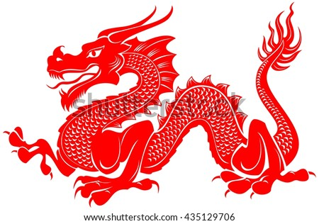 red tribal dragon tattoo vector