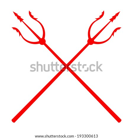 red tridents on a white