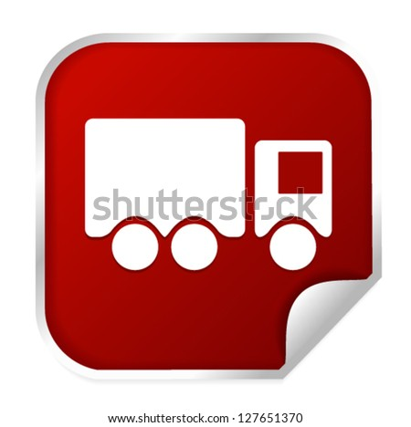 red truck-van-shipping icon on a vector sticker