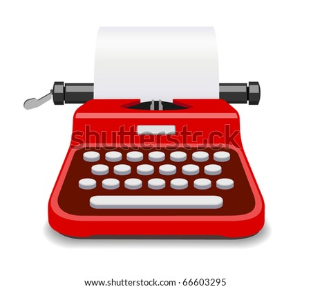 Red typewriter isolated vector
