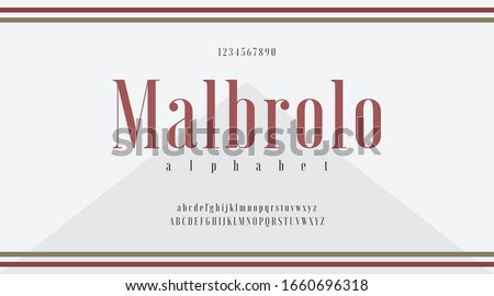 Red typo with classic minimal modern typeface typo typography alphabet fonts and number, uppercase lowercase and number. Vector illustration with white color background. Marlboro, Malbrolo, Smoke, Smo