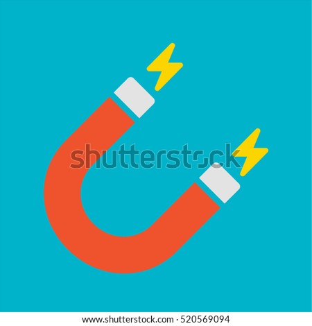 Red u-shaped magnet vector illustration