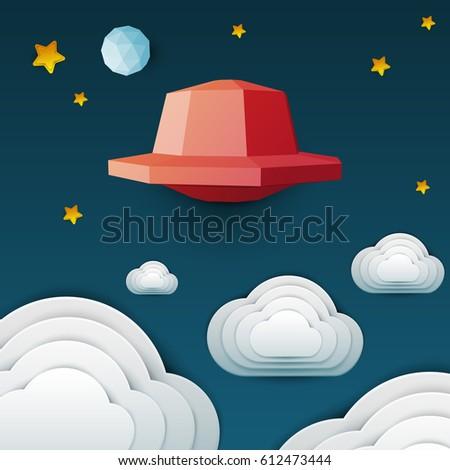 red ufo spaceship flying in sky