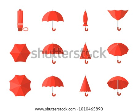 red umbrella icon, flat design