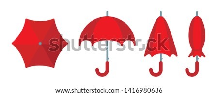 Red umbrella, opened, closed and folded, side and top view in set. Flat vector illustration, suitable as design element or icon for app. Symbol of rainy summer weather, water protection, safety.