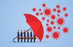 Red umbrella protecting merchants immune novel coronavirus pneumonia infection
