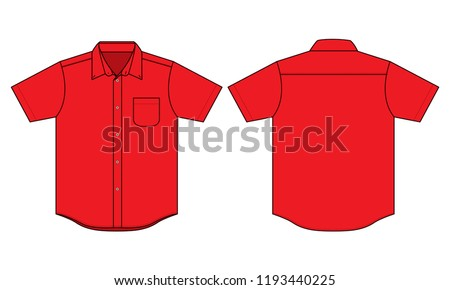 Red Uniforms Shirt for Template : Flat View