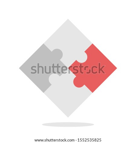 Red unique piece completing jigsaw puzzle. Innovation, uniqueness, connection, solution, individuality and teamwork concept. Flat design. EPS 8 vector illustration, no transparency, no gradients