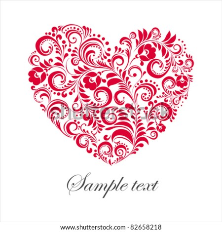 Red valentine heart in floral style isolated on White background. Vector illustration