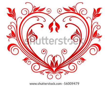 Red valentine heart in floral style. Jpeg version also available in gallery