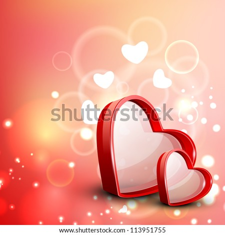 Red Valentine Hearts on floral decorative love background. EPS 10.