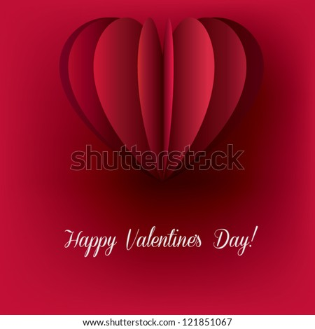 Red Valentine's Day Card with heart shaped cut out paper