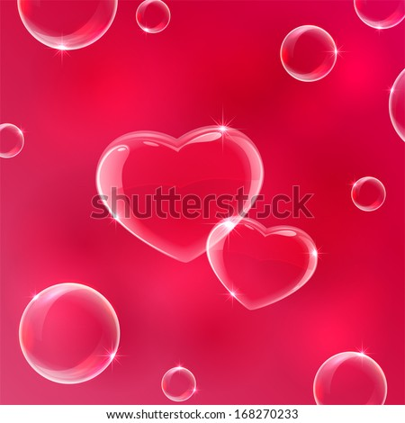 Red Valentines background with soap bubbles in the form of Hearts, illustration.