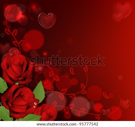 Red valentines day background with heart shaped bubbles and red roses