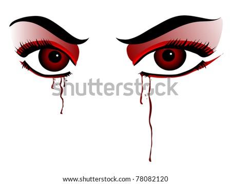 red vampire eyes on white