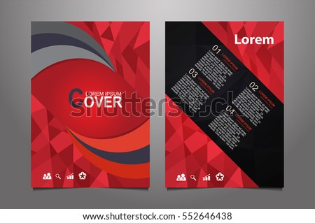 Red Vector annual report Leaflet Brochure Flyer template design, book cover layout design, Abstract  red presentation book cover templates