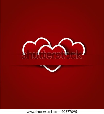 Red vector background with paper hearts