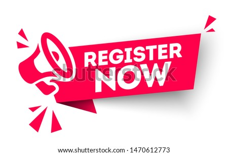red vector banner register now with megaphone